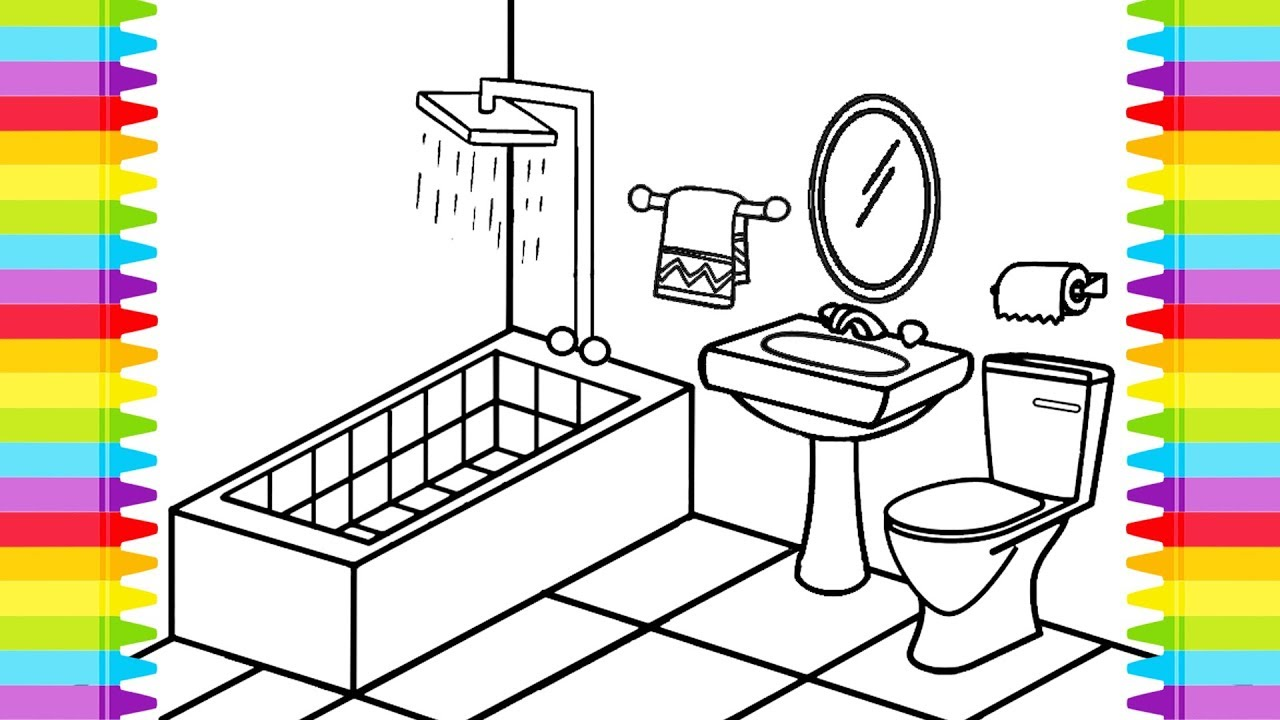bathroom toilet coloring book pages for kids learning