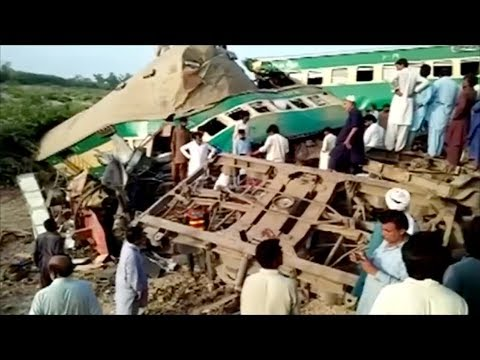 At least 13 killed, dozens injured in train collision in Pakistan
