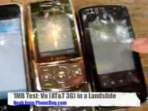 iPhone vs LG Vu vs Samsung t819 Teste de velocidade HD