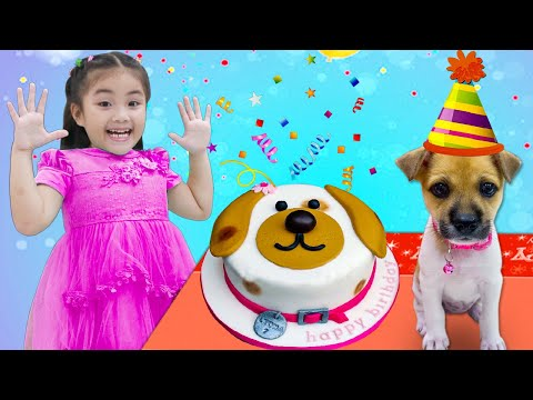 Annie and Sammy Pretend Play Surprise Birthday Party for Their REAL Puppy Dog Pet