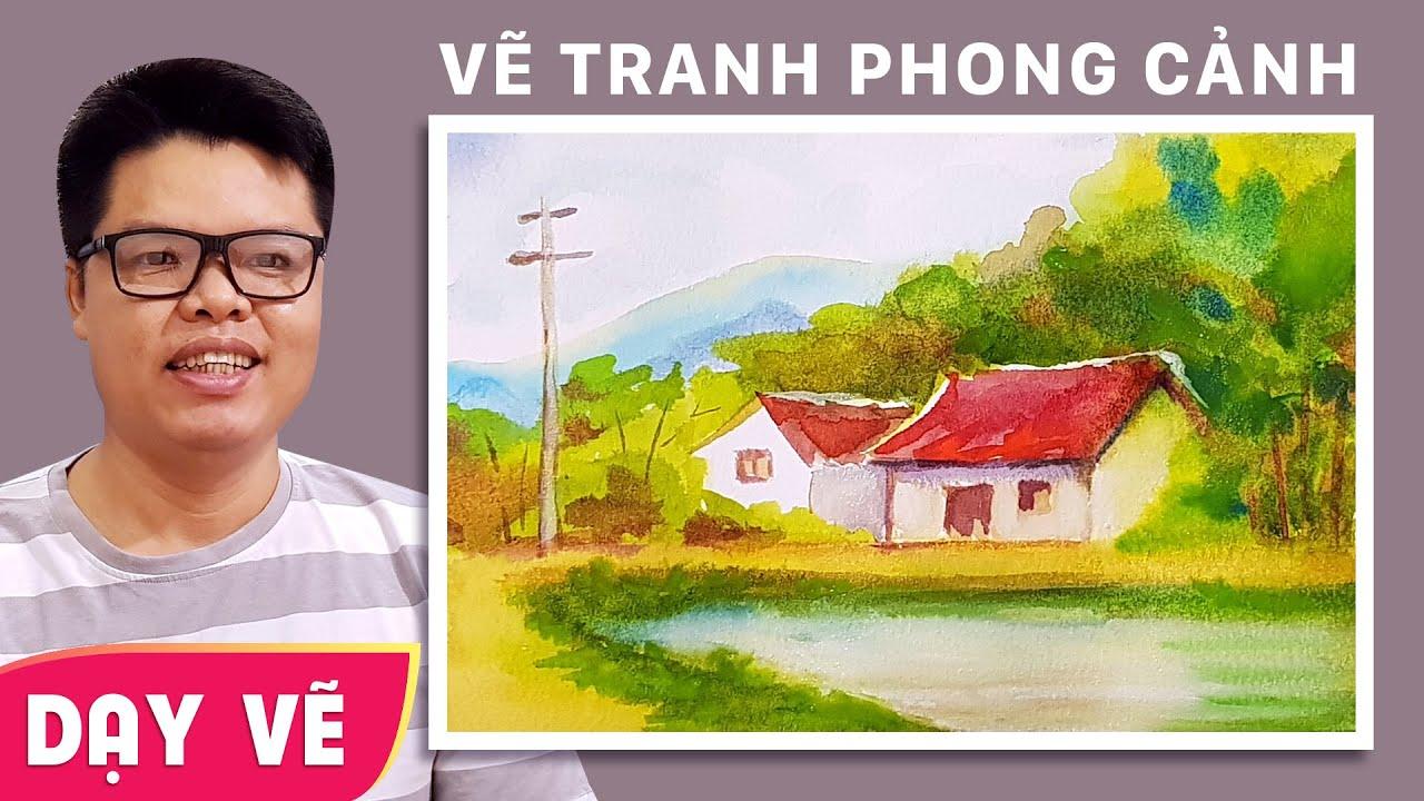 Dạy vẽ tranh phong cảnh làng quê bằng màu nước