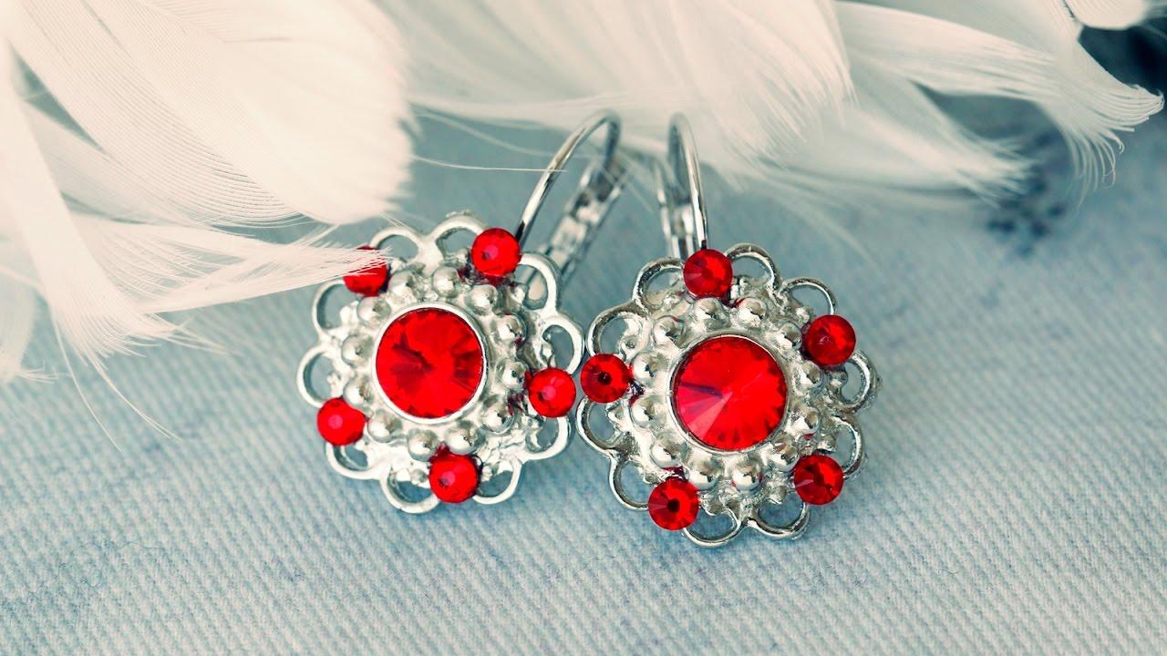 Návod na červené náušnice s kamínky Swarovski - YouTube ce5c107c16f
