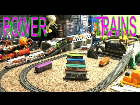 Power Trains - Double Bridge Layout with Long Train and Steam Engine
