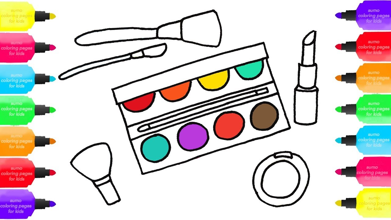 How To Draw A Makeup Set For Girls, Cosmetics, Brushes