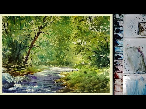 Watercolor Landscape Painting : The Forest Stream