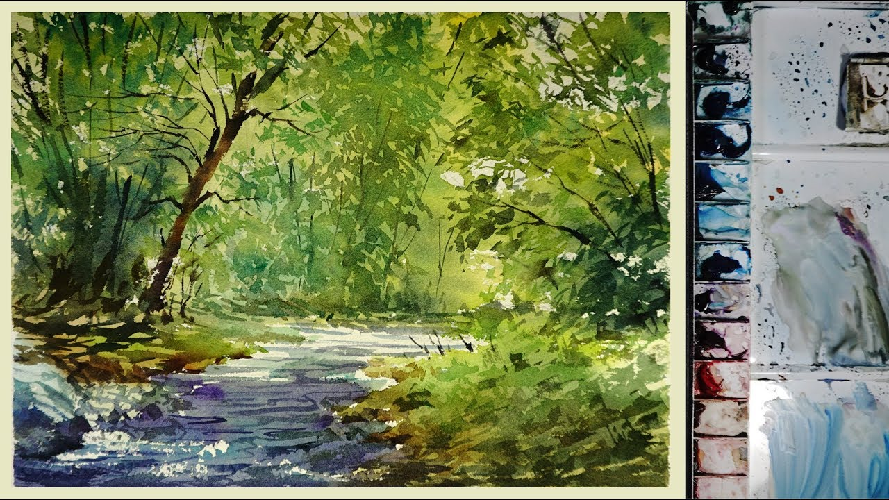 watercolor landscape painting the forest stream youtube watercolor landscape painting the forest stream