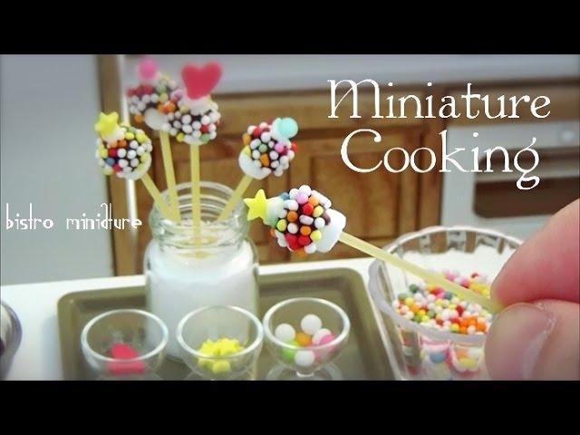 Edible Tiny Food 73 ミニチュア料理 Marshmallow Pops マシュマロポップス Tiny Kitchen Mini Food Miniature Cooking