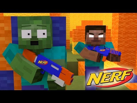 Monster School : NERF WAR  CHALLENGE - Minecraft Animation thumbnail