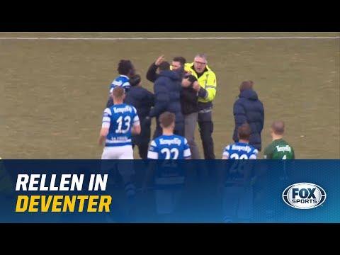Rellen op het veld na Go Ahead Eagles - De Graafschap