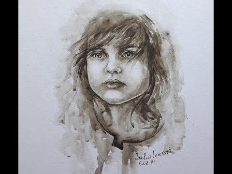 Child portrait with watercolor || grisaille painting technique|| kids|| Julia fine art