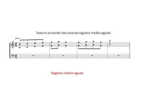 Texturas musicales: Textura unisonal, Unísono orquestal. Ejemplos.