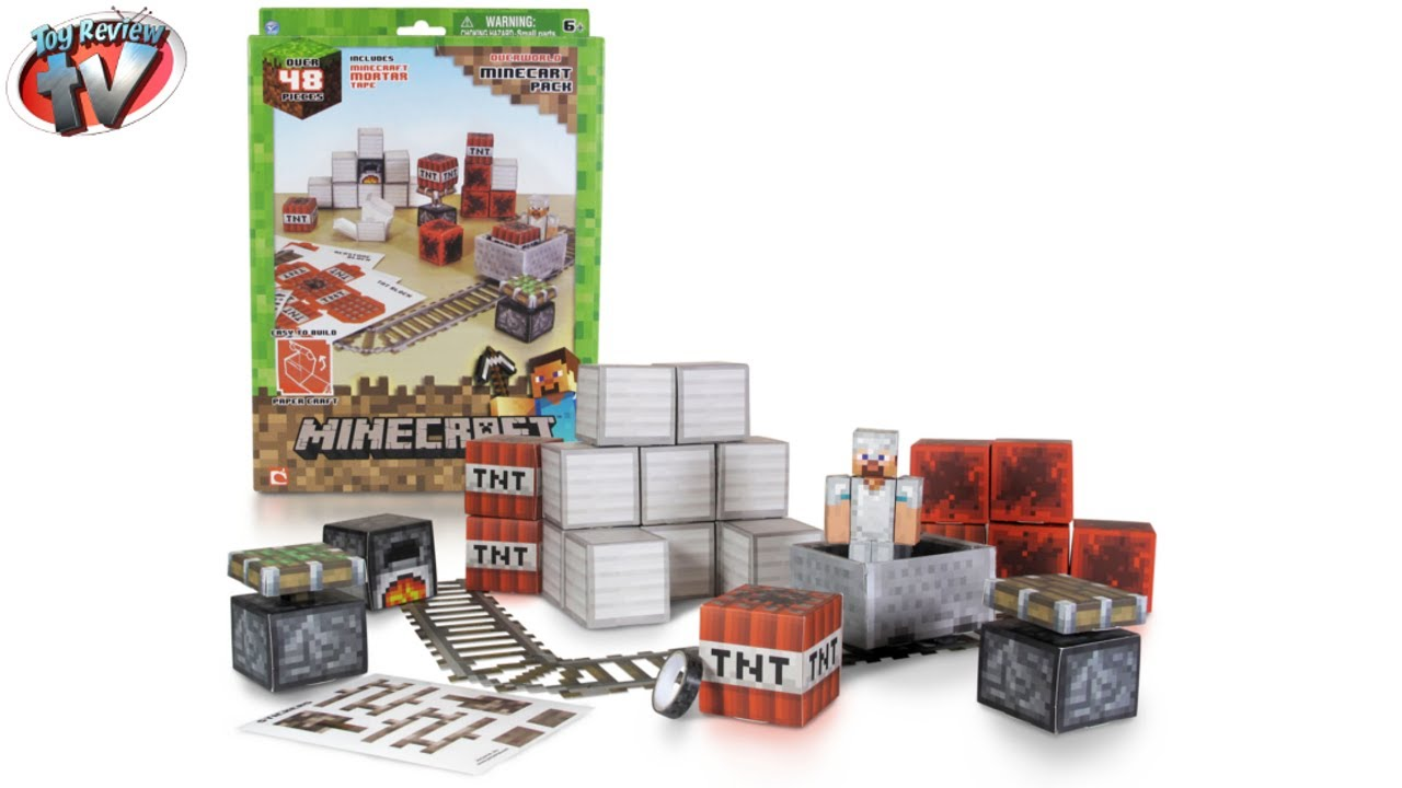 Papercraft Minecraft: Overworld Minecart Pack Papercraft Toy Review, Jazwares