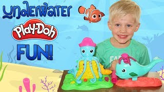 Underwater Play-Doh Creations with Cranky Octopus and Wavy Whale