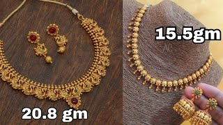 Gold necklace set design with weight/light weight gold necklace set with earrings design