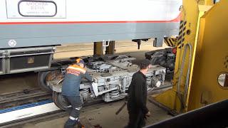 Смена колесных пар в Бресте на поезде Москва-Прага.