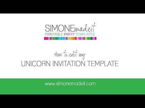 Unicorn Birthday Party Invitation - Editable & Printable Template
