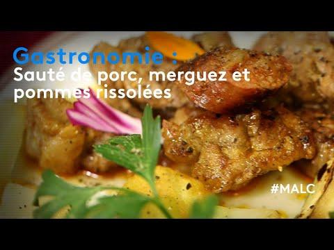 gastronomie-:-sauté-de-porc,-pommes-rissolées-et-courgettes