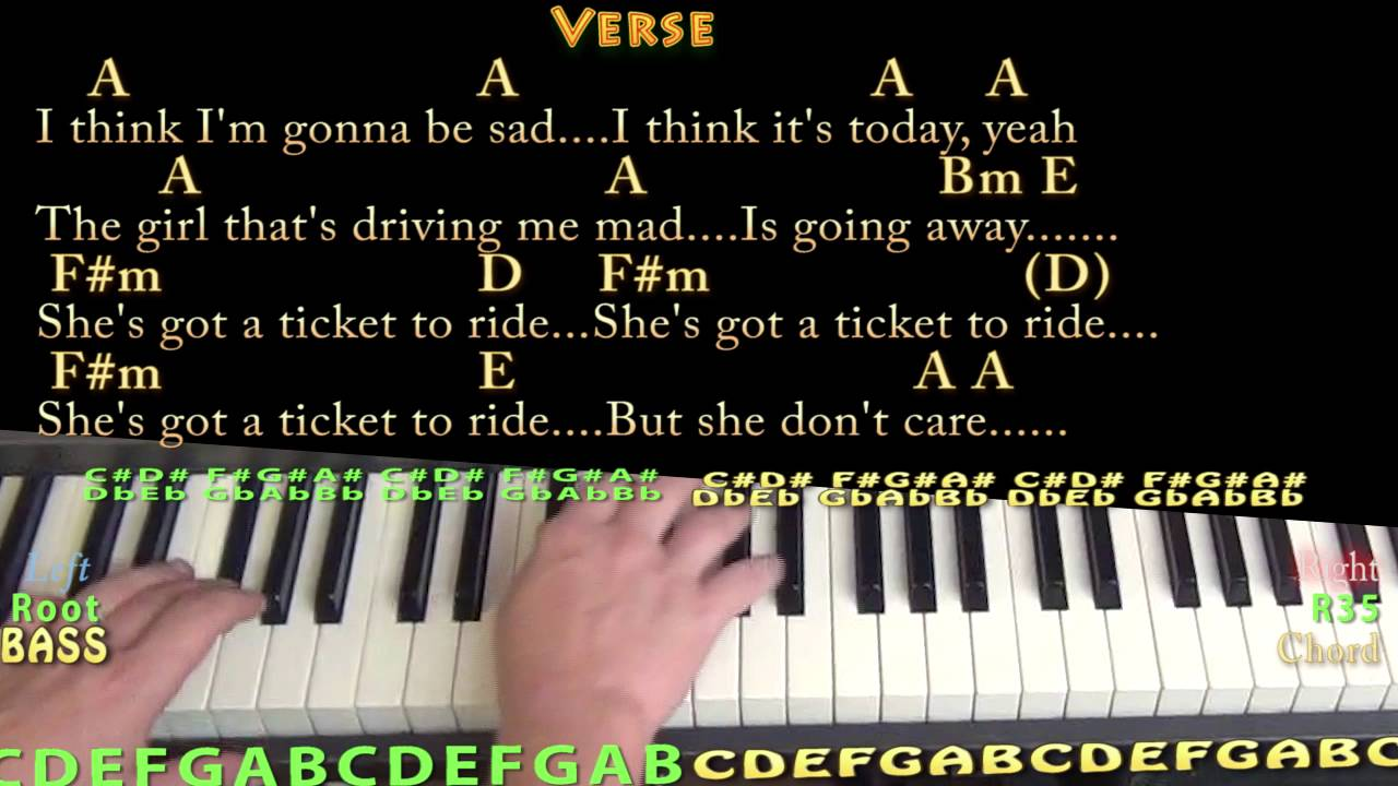 Ticket To Ride The Beatles Piano Cover Lesson In A With Chords