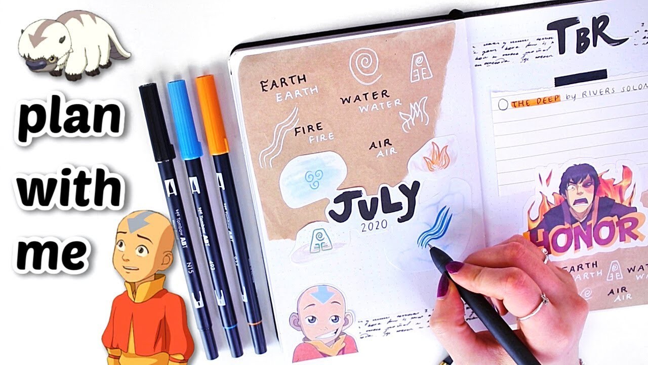 PLAN WITH ME | July Reading Bullet Journal Set Up (Avatar the Last Airbender Theme)