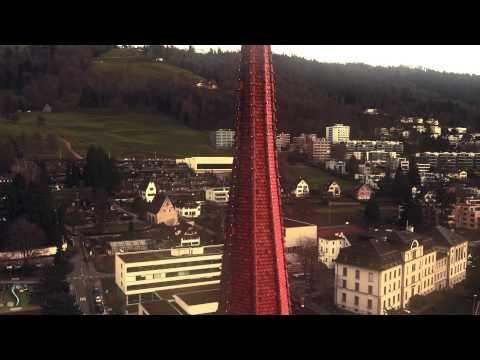 Luftaufaufnahme der St. Michael Kirche mit Drohne, St Michael church in Zug Switzerland