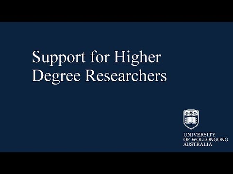 Support for Higher Degree Researchers at UOW Library