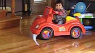 MY BIG RED CAR, with baby Christian