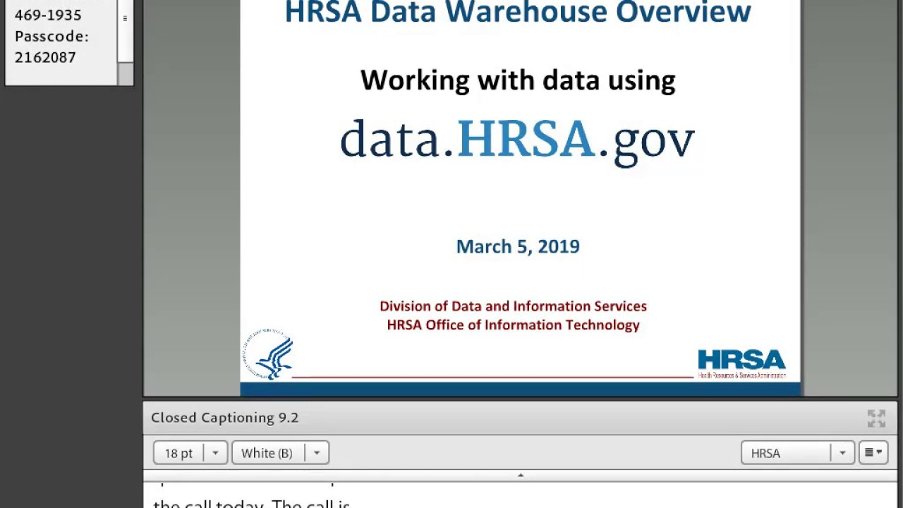 HRSA Data Warehouse Training