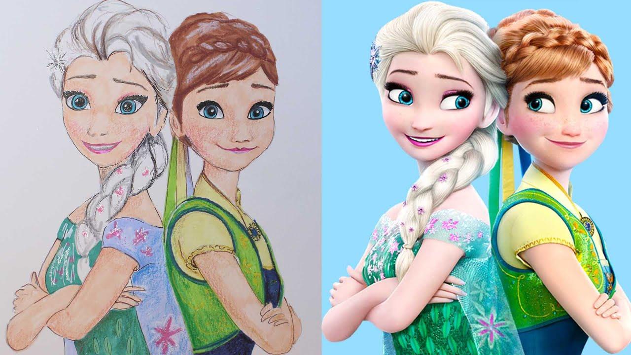 Frozen Karlar Ulkesi Prenses Anna Ve Kralice Elsa Cizim