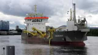 Dredger at Work in Glasgow Scotland at Yorkhill Quay River Clyde