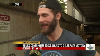 Blues players return to Enterprise Center after Stanley Cup win
