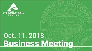 Board of County Commissioners' Meeting Oct. 11, 2018