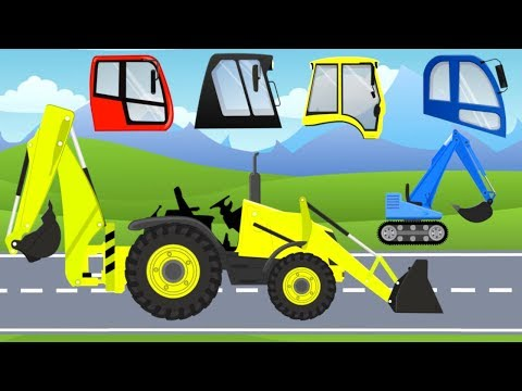 Excavator Mini with Bulldozer | Construction Machinery - What cabin?  Vehicles for Kids - Cartoon