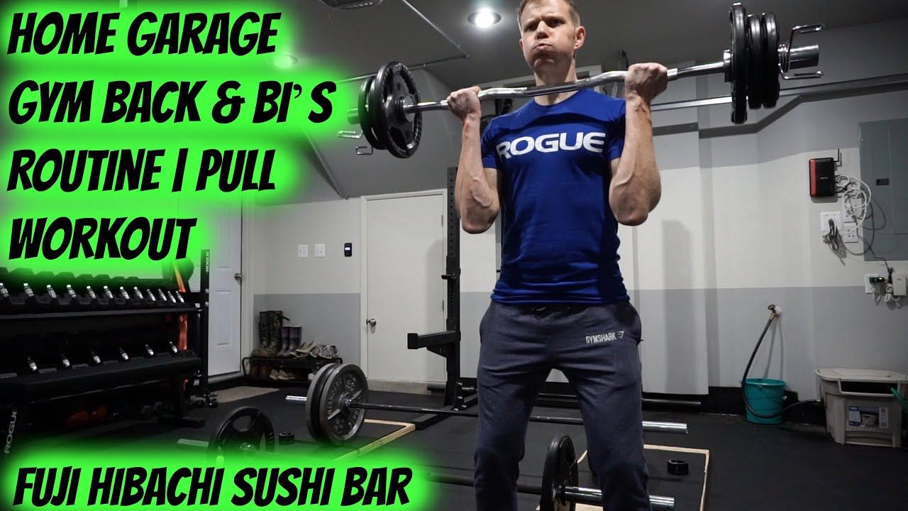 Home garage gym back bi s routine pull workout fuji
