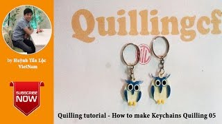 Quilling tutorial basic- How to make Owl Quilling Keychains 05
