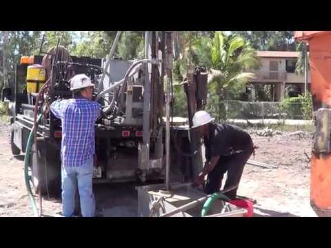 MOST DAGEROUS JOBS LAND BASED DRILL RIGS & NUTTER DRILLING ONTIME BACKHOE KEY PIRATES COVE KEY LARGO