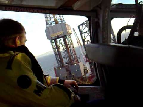 Helicopter offshore take off from  Ensco 92