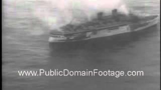 Greek liner Lakonia fire at sea Newsreel PublicDomainFootage.com