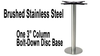 Turin Stainless Steel Bolt-down Disc Table Base - Table Height And Bar Height