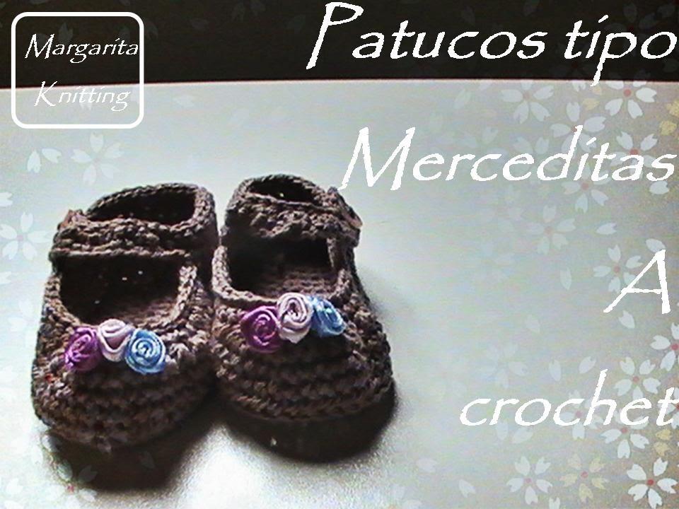 Patucos tipo merceditas de bebe a crochet (zurdos) - YouTube