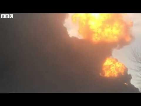 Explosions as North Dakota freight train derails