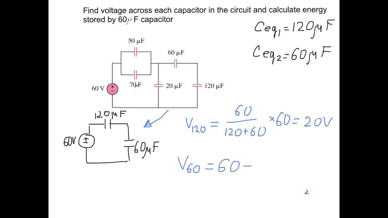 Finding Voltage Across Capacitors In The Electric Circuit Example With Solution