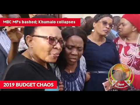 MDC MPs say bashed by police in Parliament; party chair Thabitha Khumalo collapses on the street