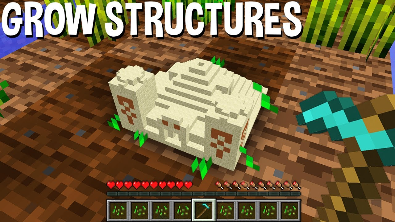 Minecraft BUT GROW STRUCTURES on FARMLAND ! NEW BUILDING !