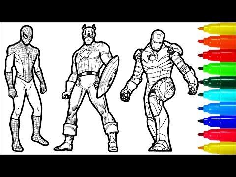 Spiderman Iron Man Captain America Wolverine Superman Coloring Pages | Superheros Coloring Pages