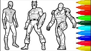 Spiderman Iron Man Captain America Wolverine Superman Coloring Pages | Superheros Coloring Pages