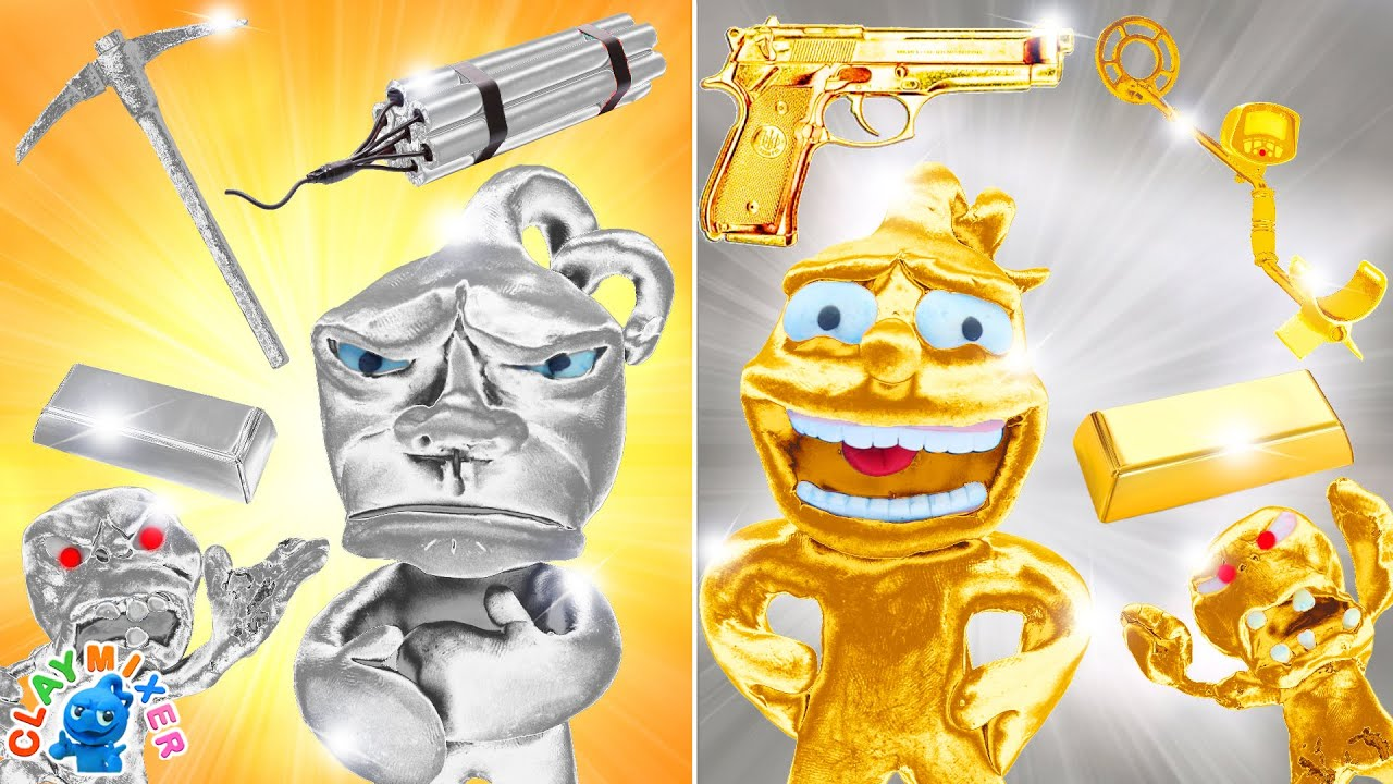 Download GOLD vs SILVER Apocalypse Challenge - Gold and Silver Zombie Bite Tiny   Clay Mixer Stop Motion