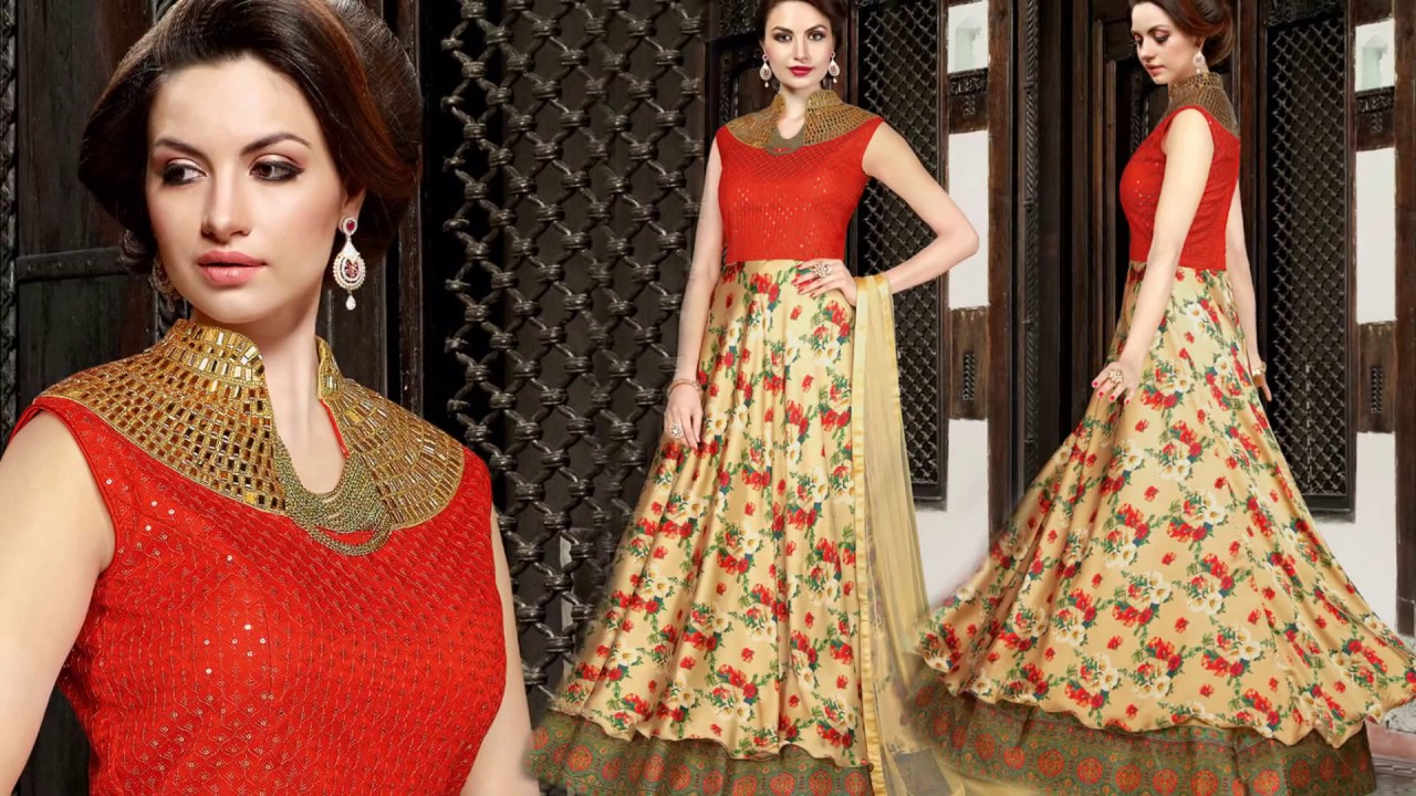 Womens Indo Western Designer Party Wear Long Gowns: Girls