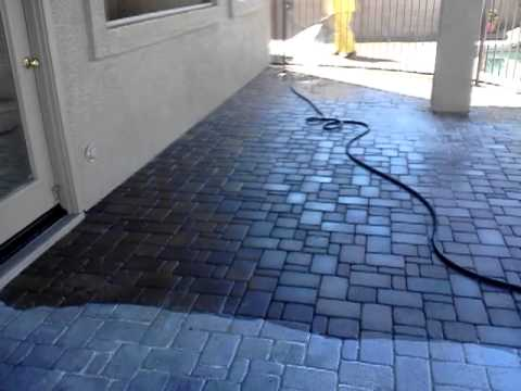 Striping Cleaning and Resealing This Concrete Paver Patio in this Phoenix  Arizona Part 1 - Striping Cleaning And Resealing This Concrete Paver Patio In This
