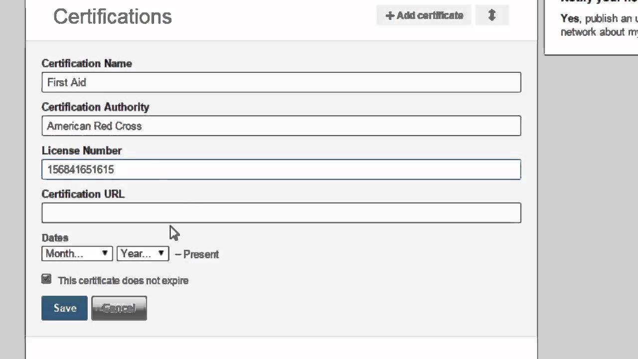 Certification Section Linkedin Nursing Youtube