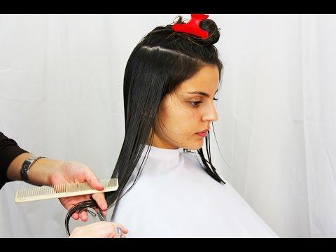 Wonderful brunette getting a long straight bob haircut